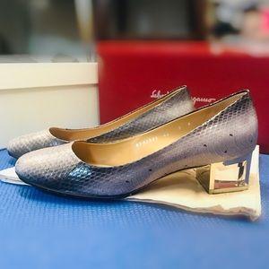 Salvatore Ferragamo snakeskin with crystal heels
